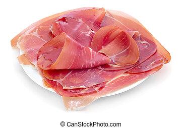 spanish serrano ham served as tapas
