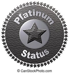 """A platinum disc with a circle of stars around it with text """"Platinum Status"""" and stacked stars on the disk"""