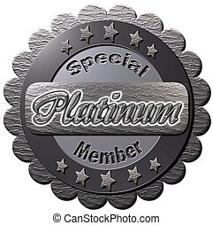 "A platinum seal with ""Special Platinum Member"" notice"