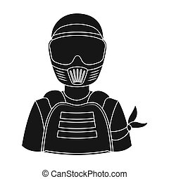 A player in paintball. Paintball single icon in black style vector symbol stock illustration web.