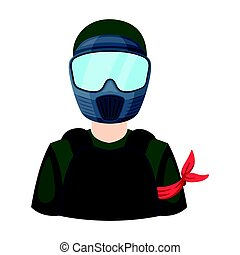 A player in paintball. Paintball single icon in cartoon style vector symbol stock illustration .