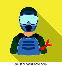 A player in paintball. Paintball single icon in flat style vector symbol stock illustration web.