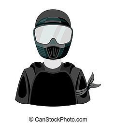 A player in paintball. Paintball single icon in monochrome style vector symbol stock illustration web.