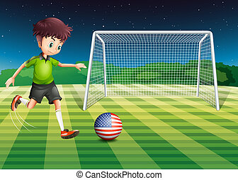 A player kicking the ball with the flag of USA