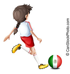 A player using the ball with the flag of Mexico