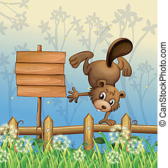 A playful beaver beside the empty signboard