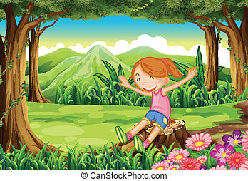 A playful child sitting above the stump at the forest