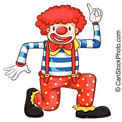 A playful clown - A coloured drawing of a playful clown on a...