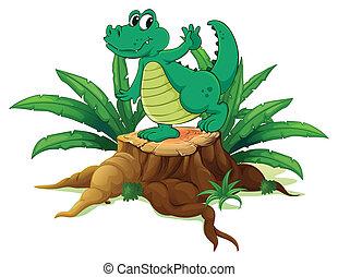 A playful crocodile above the wood