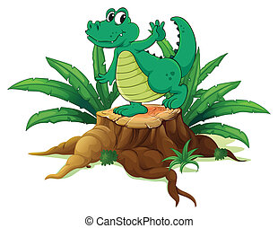 A playful crocodile above the wood - Illustration of a...