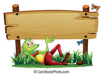 A playful frog under the empty wooden signboard -...