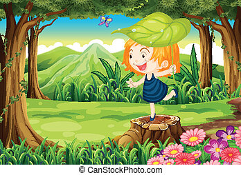 A playful little girl above the stump