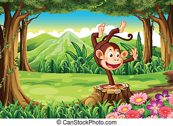 A playful monkey above the stump near the trees