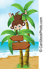 A playful monkey at the beach with an arrowboard