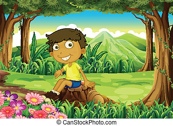 A playful young boy above the stump