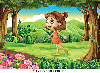 A playful young girl at the woods
