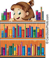 A playful young girl in the library