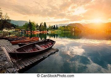 A pletna, traditional Slovenia boat