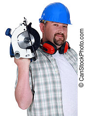 A plumb handyman with a circular saw.