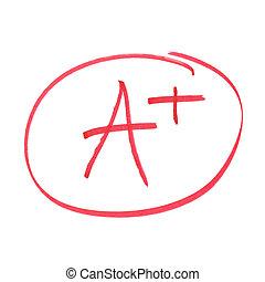 A Plus Grade - A handwritten grade for the highest...