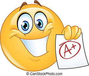 A plus grade emoticon - Happy emoticon showing a paper with...