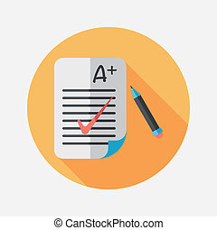 A plus grade in the notebook, flat icon with long shadow, ...