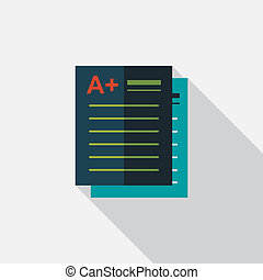 A plus grade in the notebook,flat icon with long...