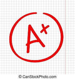 A plus grade mark. Best result sign. Excellent done.