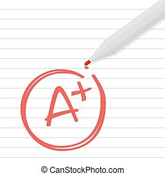 A plus grade on line paper with red