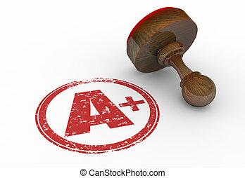 A Plus Grade Perfect Score Stamp Letter 3d Illustration