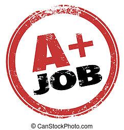 A Plus Job Stamp Grade Score Best Performance Test