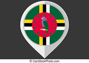 Pointer with the flag of Dominica
