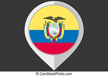 Pointer with the flag of Ecuador