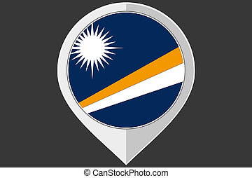Pointer with the flag of Marshall Islands