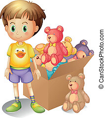 a, pojke, bredvid, a, boxas, av, toys