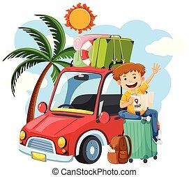 a, pojke, på, sommar ferier