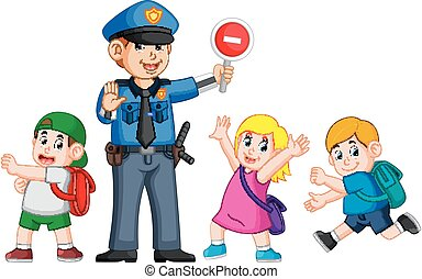 a, polícia, usando, a, parada, signboard, ajudar, a, crianças, passagem, a, zebra, crucifixos