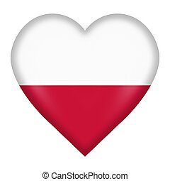 Poland flag heart button isolated on white with clipping path