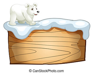 A polar bear above the empty wooden signboard