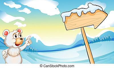 A polar bear in the north pole - Illustration of a polar...