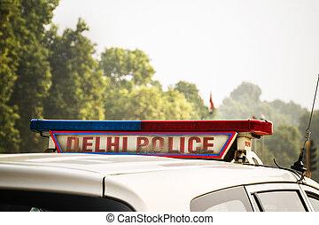 A police car on the street