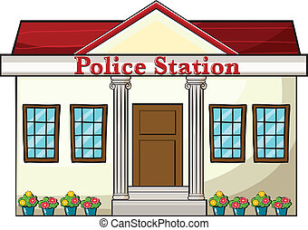 A police station - Illustration of a police station on a...