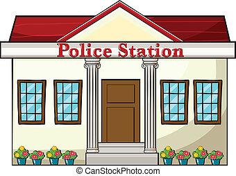 A police station - Illustration of a police station on a ...