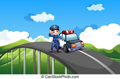 A policeman and his patrol car in the middle of the road