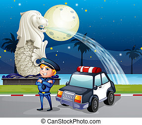 A policeman and his patrol car near the statue of Merlion