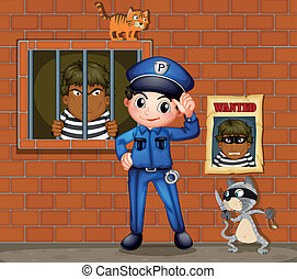 A policeman in front of a jail with two cats - Illustration...