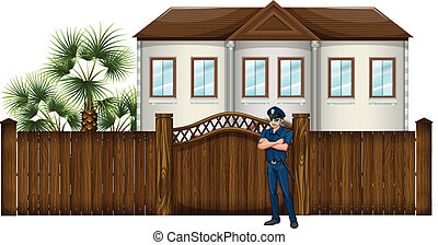 A policeman in front of the house