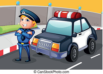 A policeman standing beside his patrol car - Illustration of...