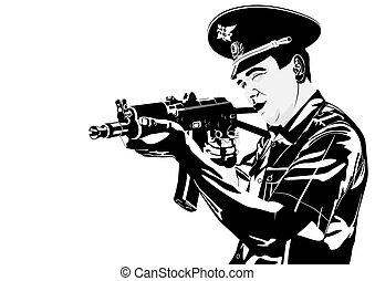 A policeman with a gun