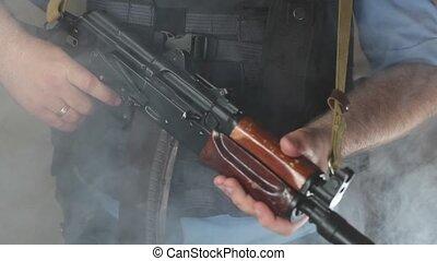 A policeman with a machine gun HD